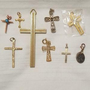 Jewelry - Lot Gold Copper Religious Cross Pendant HMK 12K